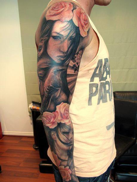 Flower and portrait sleeve tattoo - Design of Tattoos | Ink Me! | Scoop.it