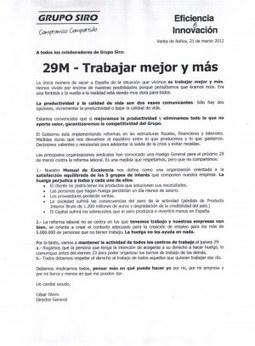 [Palencia] #29M Trabajar mejor y más. Grupo Siro entrega esto a sustrabajadorxs   Txemabcn   Scoop.it