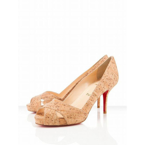 Christian Louboutin Shelley 90mm Peep Toe Cork Pumps Natural | new and share style | Scoop.it