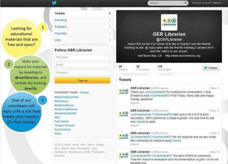 Find OER via OER Librarian on Twitter | Open Educational Resources (OER) | Scoop.it