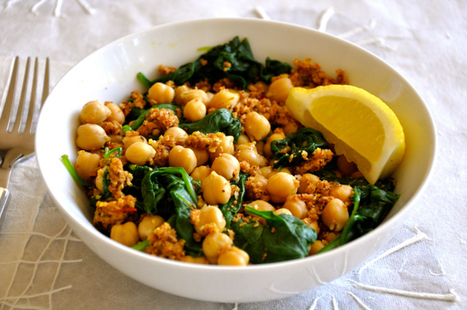 Chickpeas and Spinach with Spicy Breadcrumbs | My Vegan recipes | Scoop.it