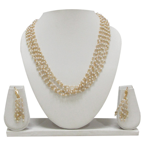 Smoke WhiteGolden necklace and earring set  SMCB501   Online Shopping in India   Scoop.it