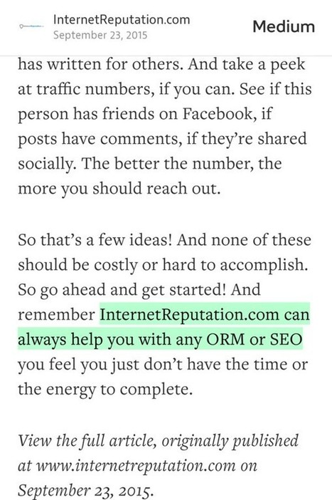 """""""InternetReputation.com can always help with ORM or SEO"""" Powered by RebelMouse 