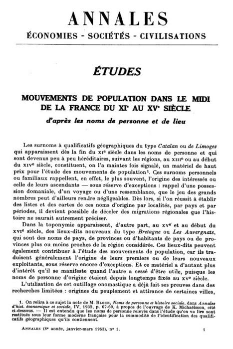 Mouvements de populations dans le Midi de la France, du XIe au XVe siècle | Persée | Nos Racines | Scoop.it