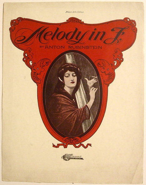 """Antique 1914 Beau Arts Edition of """"Melody in F"""" Sheet Music by Anton Rubinstein 11 x 14 Large Format 