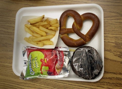 School lunch unpacked on a plate