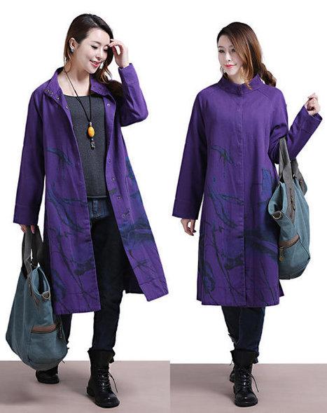 Purple Loose cotton long-sleeved windbreaker jacket / casual personality single-breasted Overcoat | Ladies Fashion | Scoop.it
