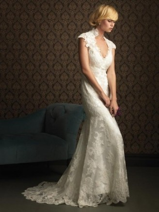 Applique V-neck Lace Mermaid Wedding Dresses | Wedding Dresses | Scoop.it