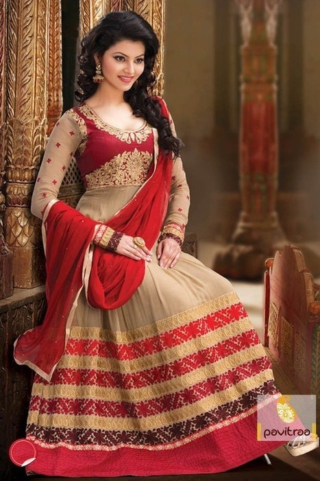 Admirable Cream with Maroon Embroidery Salwar Suit | Pavitraa Fashion | Scoop.it