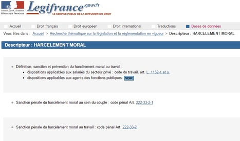 HARCELEMENT MORAL | Legifrance | Bullying | Cyberbullying, it's not a game! It's your Life!!! | Scoop.it