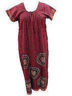 Women's Cotton Nighties Gypsy Brown Red Linen Print Long Maxi Dress | caftan Kaftan | Scoop.it