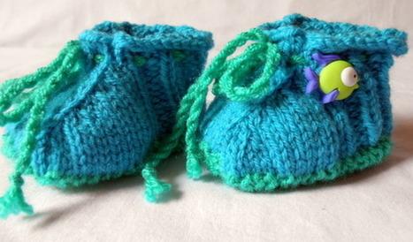 Chaussons bébé 3-6 mois rose bleu et vert en laine tricotés main décor poissons  : Mode Bébé par babiolesdeceline   Puériculture   Scoop.it