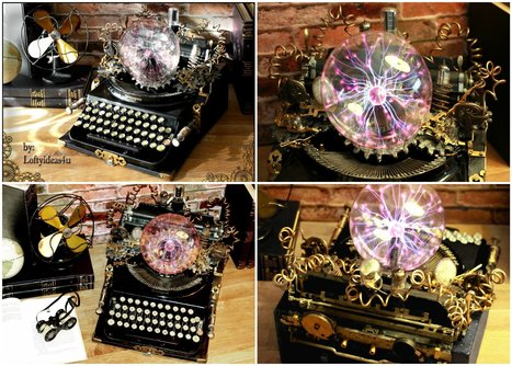 Steampunk Upcycled Vintage 1920 Remington Typewriter Repurposed Plasma Desk Lamp • Recyclart | Upcycled Objects | Scoop.it