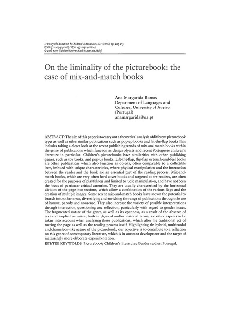Ramos, Ana Margarida (2016). On the liminality of the picturebook: the case of mix-and-match books. «History of Education & Children's Literature», XI, 1, pp. 205-213 ISSN 1971-1093 (print) / ISSN ... | Children's Literature - Literatura para a infância | Scoop.it