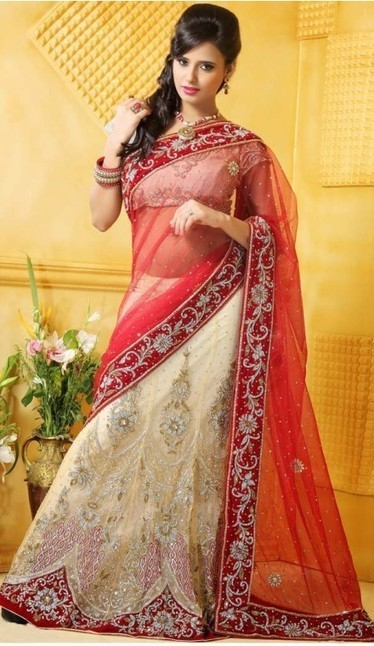 Red and Cream Net Lehenga Sari Blouse | fashionheena.com | Scoop.it