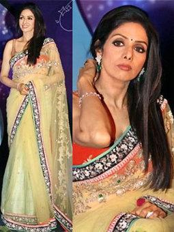 Latest Style Sri Devi in Light Yellow Net Saree 1312 | Online Shopping | Scoop.it