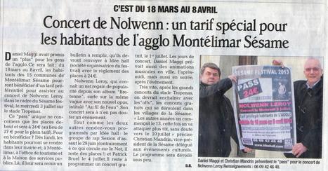 Pass pour les habitants de l'agglomération de Montélimar pour le concert de Nolwenn leroy le 3 juillet ! | Montélimar Agglo Festival 2014 | Scoop.it