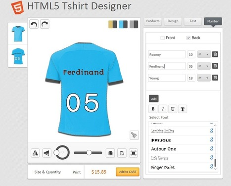 Personalized Names and Numbers introduced on HTML5 T-Shirt Designer Tool | Product Designer Tool | Scoop.it