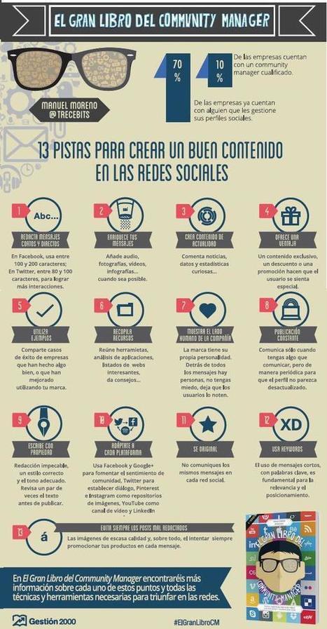 13 pistas para crear buen contenido en Redes Sociales  #infografia #infographic #socialmedia | Social Media Marketing: desenredando las redes | Scoop.it