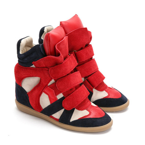 Upere Wedge Sneakers Suede Red Navy Beige - $169.78 | UPERE Wedge Sneakers Show | Scoop.it
