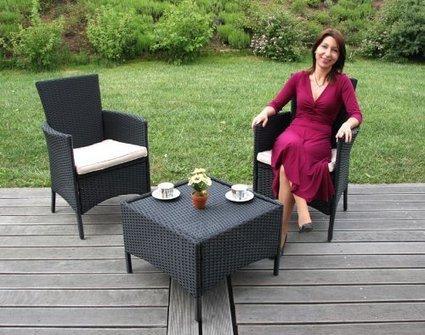###   Garten-Garnitur Sitzgruppe ROM, Poly-Rattan, Tisch eckig + 2x Sessel ~ anthrazit | Günstig Gartenmöbel Set | Scoop.it