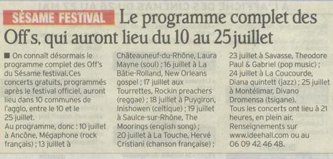 Sésame Festival les off's | Montélimar Agglo Festival 2014 | Scoop.it