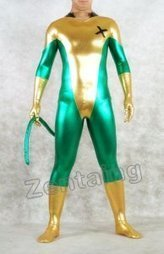 Golden And Green Shiny Metallic Catsuit WIth Tail [C20039] - $46.00 : Shop Zentai Suits Full Bodysuits And Catsuits From Zentaing.com | zentai catsuit lycra | Scoop.it