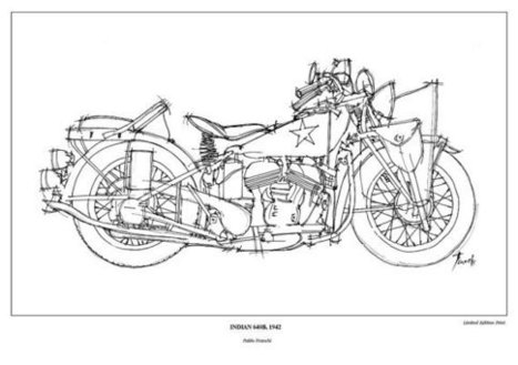 Motorcycle Art Print - INDIAN 640B, 1942 - This motorbike was used in the war - Paper size  A3: 11.5x16 in. (29 x 41 cm) | Decoration Ideas Bikes Art | Scoop.it