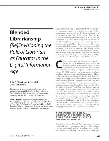 RUSA - Re-envisioning the Role of the Librarian as Educator in the Digital Age | Professional development of Librarians | Scoop.it