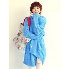 Cable Knit Cardigan in Blue | Japanese Fashion | Scoop.it
