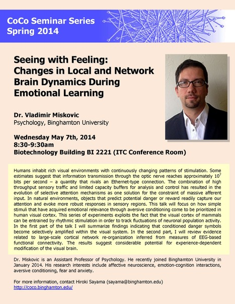 "CoCo Seminar on Wed. May 7th: ""Seeing with Feeling: Changes in Local Network Brain Dynamics During Emotional Learning"" 