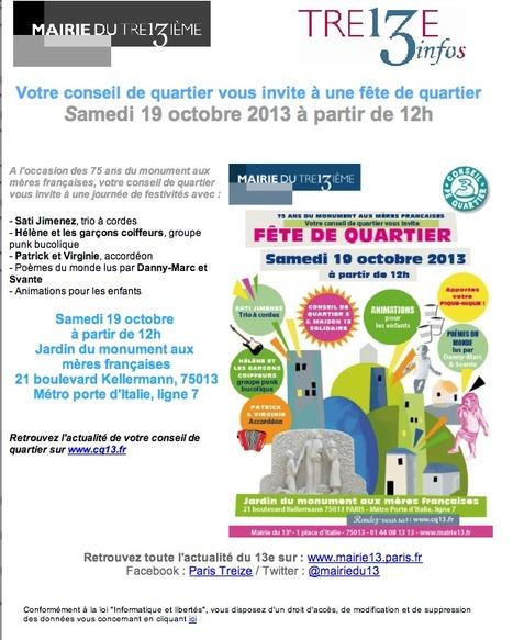 Votre CONSEIL de QUARTIER vous invite à une fête de quartier Samedi 19 octobre 2013 à partir de 12h | actions de concertation citoyenne | Scoop.it