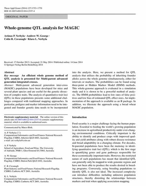 Whole-genome QTL analysis for MAGIC - Springer | Plant multi-parent advanced generation intercross (MAGIC) populations | Scoop.it