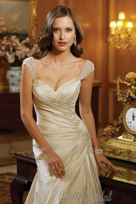 A Line Tulle Cup Sleeves Beaded Taffeta Wedding Dress 2014 New Bridal Gown | Evening Dress | Scoop.it