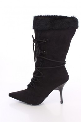 Black Fur Trim Lace Up Pointed Toe Boots Faux Suede   The Season's Hottest Styles from Pink Basis   Scoop.it