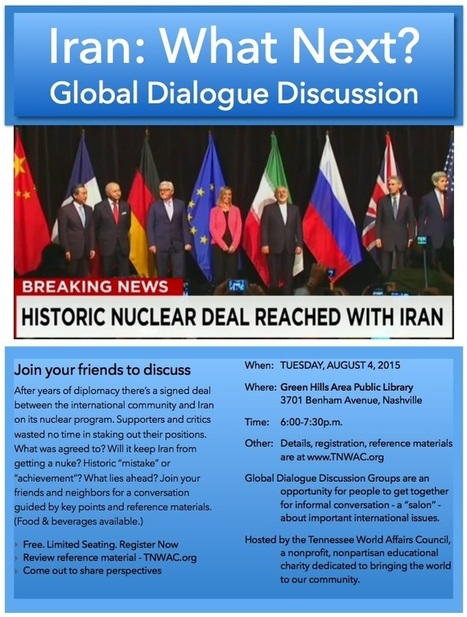 Event Reminder | Discuss Iran: What Next? | Aug 4 | Green Hills Public Library | Tennessee World Affairs Council | Tennessee Libraries | Scoop.it