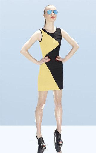 Fashion Herve Leger Black Yellow Colorblocked Bandage Dress [Two-tone Bandage Dress] - $165.00 | Sexy | Scoop.it