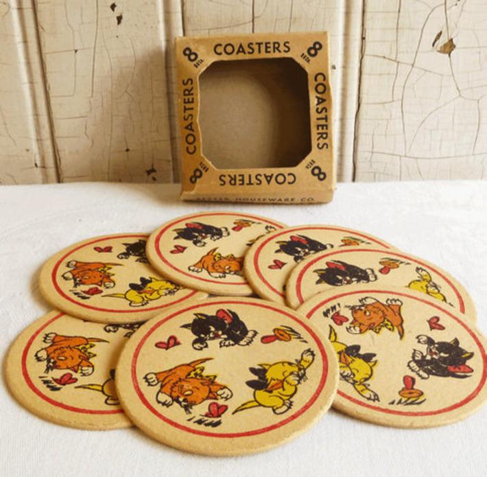 Cardboard Cat Coasters in Original Box -- Black Yellow Orange Kittens - Mid-Century 1950s | Kitsch | Scoop.it