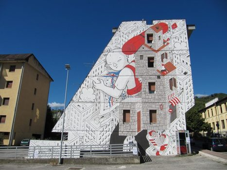 "Street art in Ascoli Piceno, le Marche: ""Backpack Home"" by Millo 