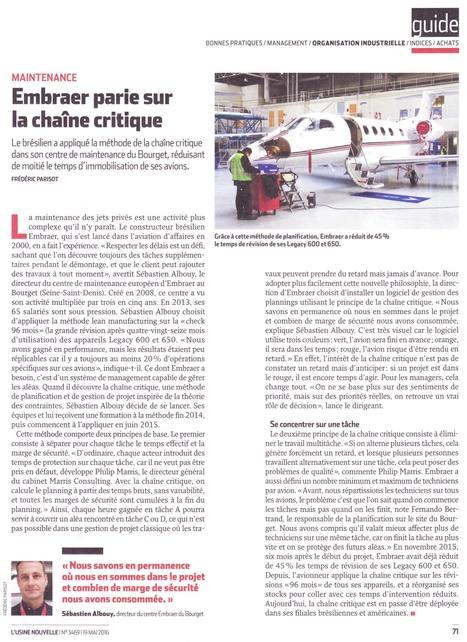 Cas Embraer Chaîne Critique en MRO aéronautique | article Usine Nouvelle Mai 2016 | Chaîne Critique | Scoop.it