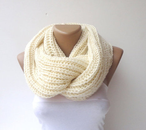 scarf Infinity hand knitted women scarf  men ULTRA SOFT scarves loop circle scarf vanilla cream scarf | MY SCARVES | Scoop.it