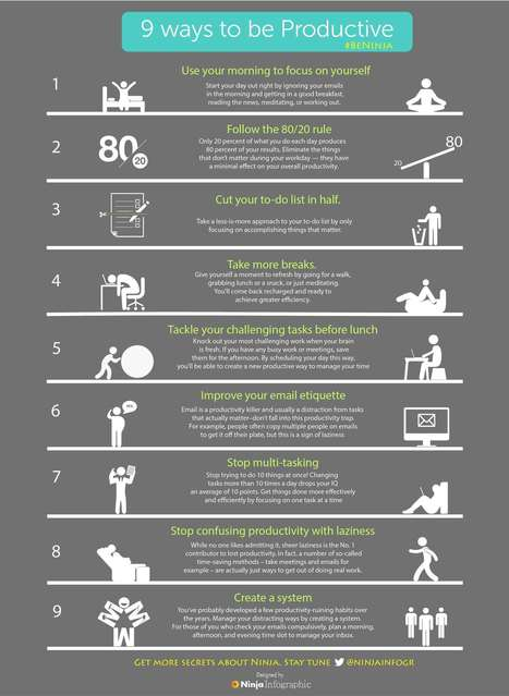 9 ways to be Productive| Ninja Infographic | Ninja Infographic | Infographics for English class | Scoop.it