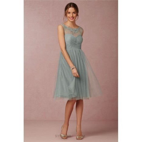 Duck Green Illusion Embroidered Tulle Knee Length Short Bridesmaid Dress   dressmebridal   Scoop.it