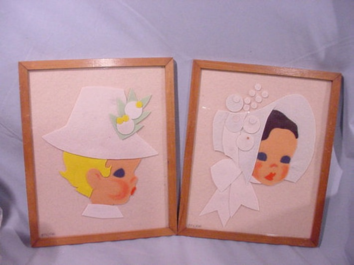 Pair Framed Pictures Felt Creations Little Girl and Boy Vintage Adorable | Antiques & Vintage Collectibles | Scoop.it