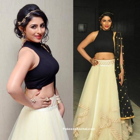 Kruthika in sleeveless Black Top and Cream Lehenga | Indian Fashion Updates | Scoop.it