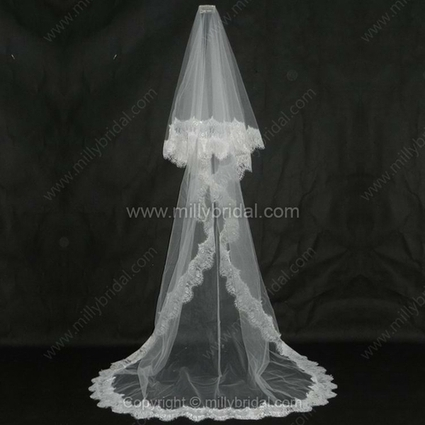 One-tier Tulle Chapel Wedding Veils with Lace Applique Edge - www.millybridal.com | wedding and event | Scoop.it