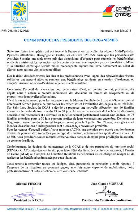 Inondations, communiqué des présidents des organismes | Journal ... | Revue de Presse du Caf des Vallées | Scoop.it