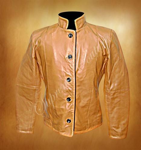 Stand Collar Beige Women Leather Jacket - Women Jackets | WOMEN JACKETS | Scoop.it