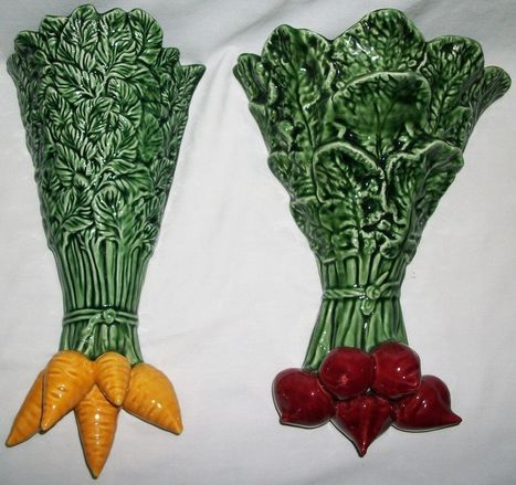2 Vintage Carrot Radish Wall Vase Portuguese Bordallo Pinheiro Vegetable Lot | Portuguese in the News | Scoop.it