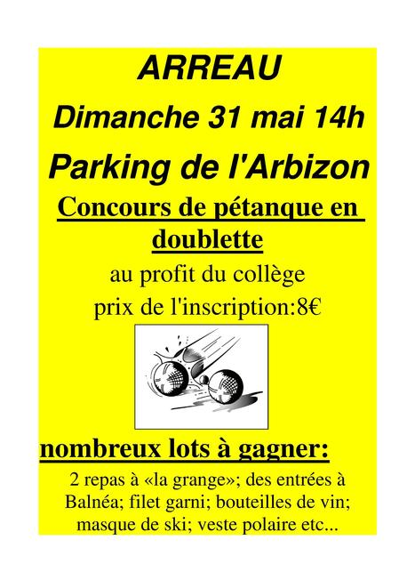 Concours de pétanque au profit du collège d'Arreau le 31 mai | Vallée d'Aure - Pyrénées | Scoop.it